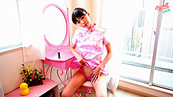 Minami H Sitting At Dressing Table Oval Mirror Raising Hem Of Cheongsam Exposing Panties Thighs Parted Hand Resing On Thigh