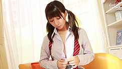 Elly Unbuttoning Her Uniform Shirt Hair In Pigtails