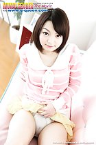 Konoha Oonishi with one hand lifting her skirt over her camel toe panties short hair frames her cute face in pink top