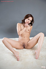 Seated Naked Leaning Back Legs Open Showing Her Shaved Pussy Bare Feet