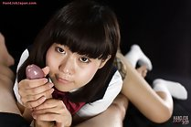 Student Kitahara Chiaki in uniform giving handjob