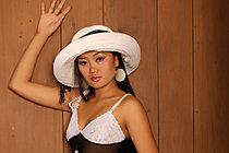 Beauty Keira Lee Strips Summer Hat And Sheer Black Dress