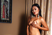 Filipina Keira Lee stripping underwear and baring pert tits