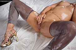 Rubbing Her Oil Covered Pussy Between Her Open Legs Belly Chain High Heels