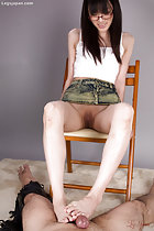 Mikami Ayaka sitting on chair denim skirt shaved pussy rubbing cock with her bare feet