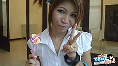 Oh Flashing Vee Sign Holding Lollipop