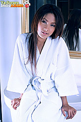 Ya Soraya Seated In Bathroom Wearing White Robe Long Hair