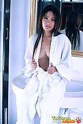 Opening Robe Baring Cleavage Long Hair