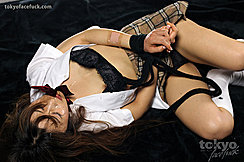 Miura Akina Lying On Floor In Student Uniform Hands Bound With Black Cord