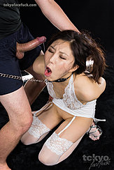 Kazuki Yuu Choking On Hard Cock Long Hair In Lingerie And Stockings Shaved Pussy