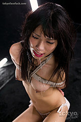 Saliva Dripping From Her Lips Arms Tied With Rope Behind Her Back Hard Nipples