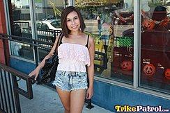 Standing Outside Halloween Shop Short Hair Wearing Denim Shorts